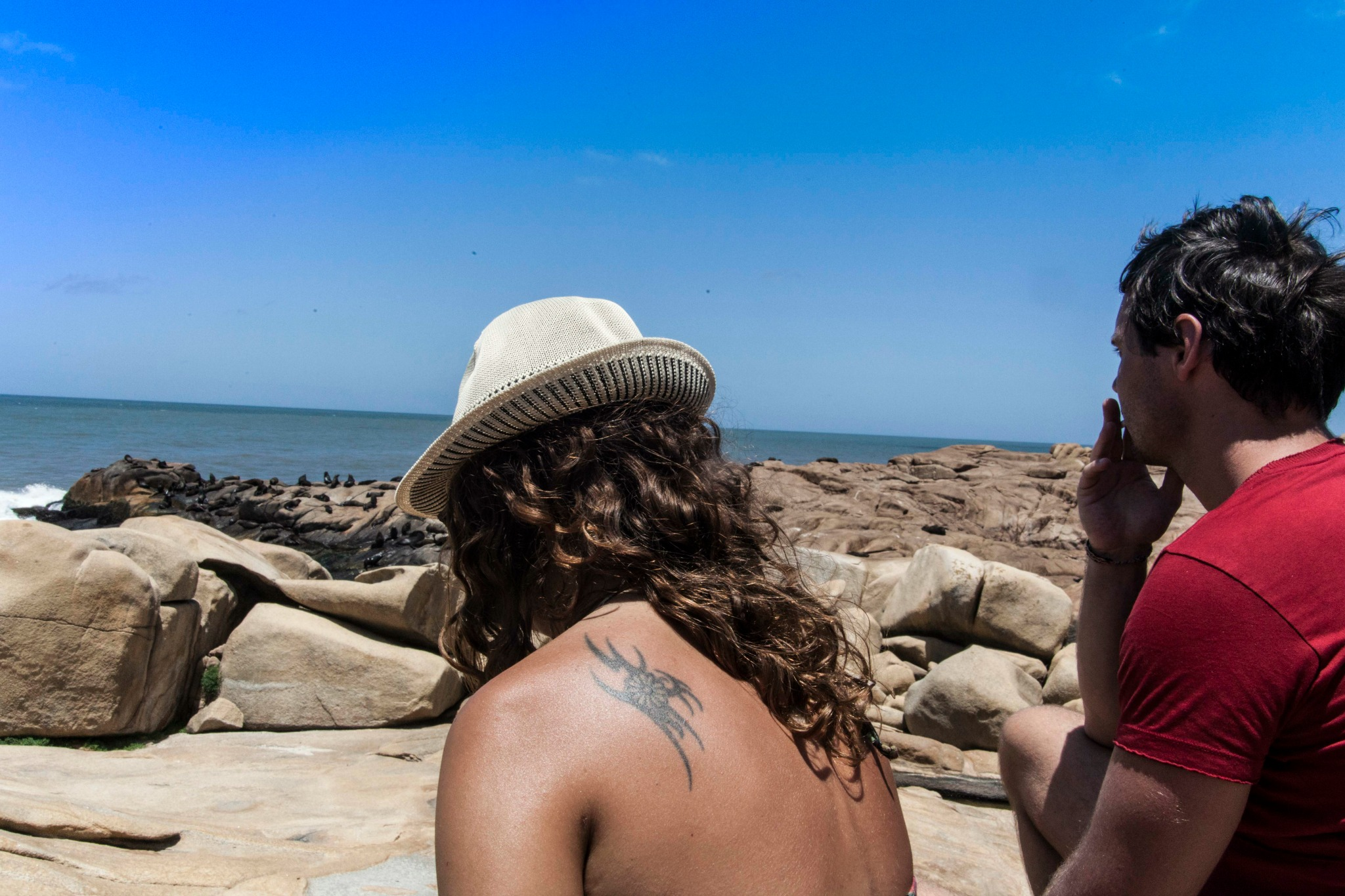 My friends admiring the sea mammals. Photo by Francois