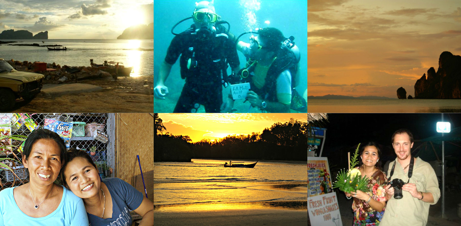 Sunset, birthday celebration while diving, Pi Moss with Song, Song and me during Loy krathung festival